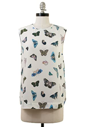 aae364d187a510 Amazon.com: Equipment Kyle Butterfly Print Silk Top in Bright White (S):  Clothing