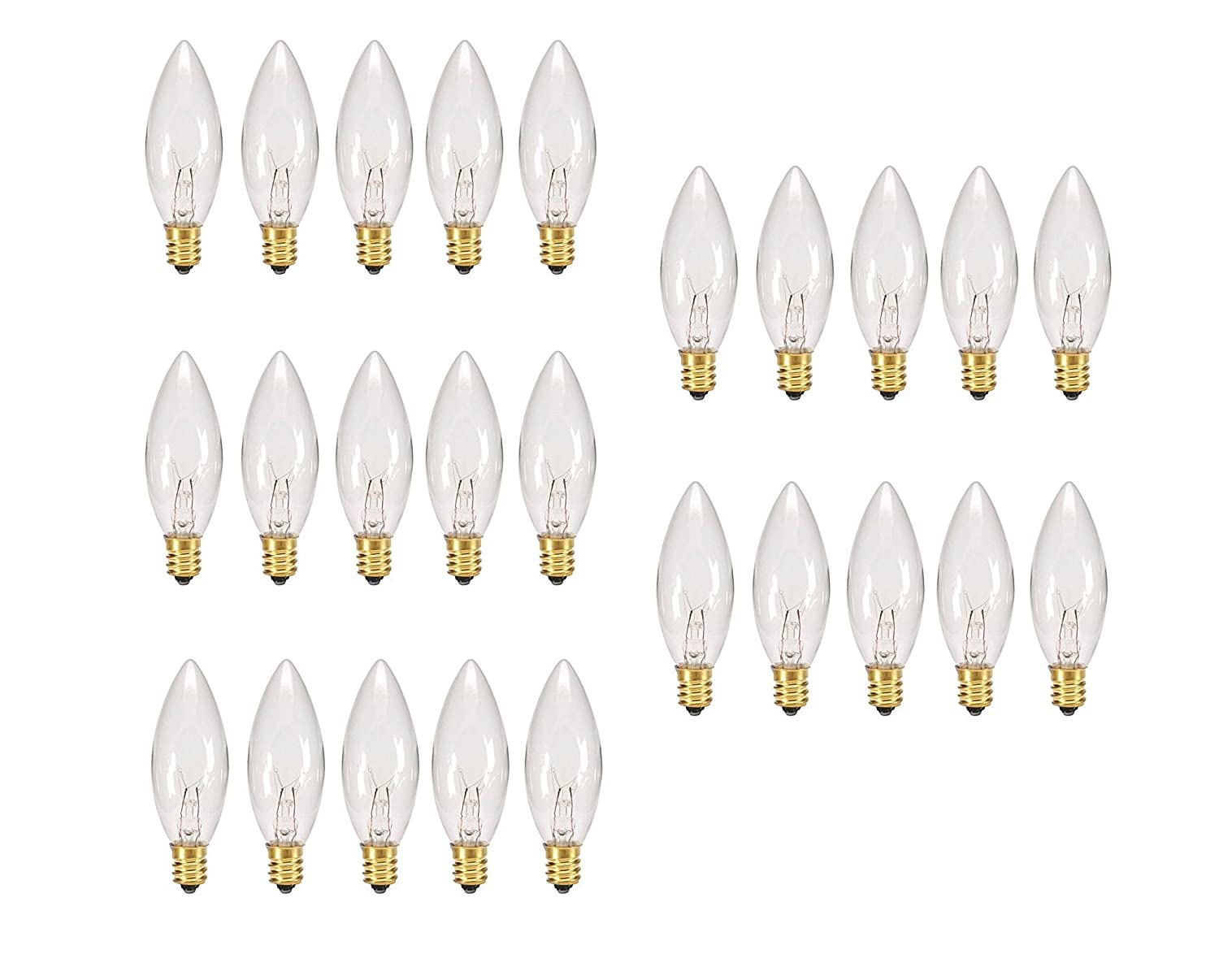 Replacement Light Bulbs for Electric Candle Lamps - 7 Watt, Clear, Pack of 25 Bulbs