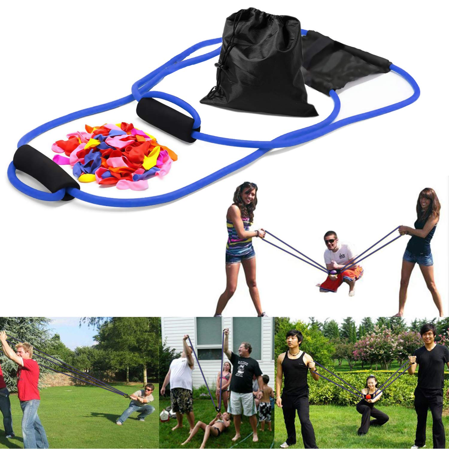YHmall 300 Yard 3 Person Water Balloon Launcher with 500 Water Balloons Heavy Duty Water Balloon Cannon Slingshot Fight Pool Party Toys for Kids and Adults