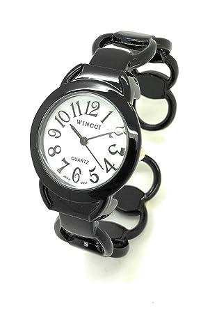 Amazon.com: Pulsera de metal elegante para mujer, reloj de ...