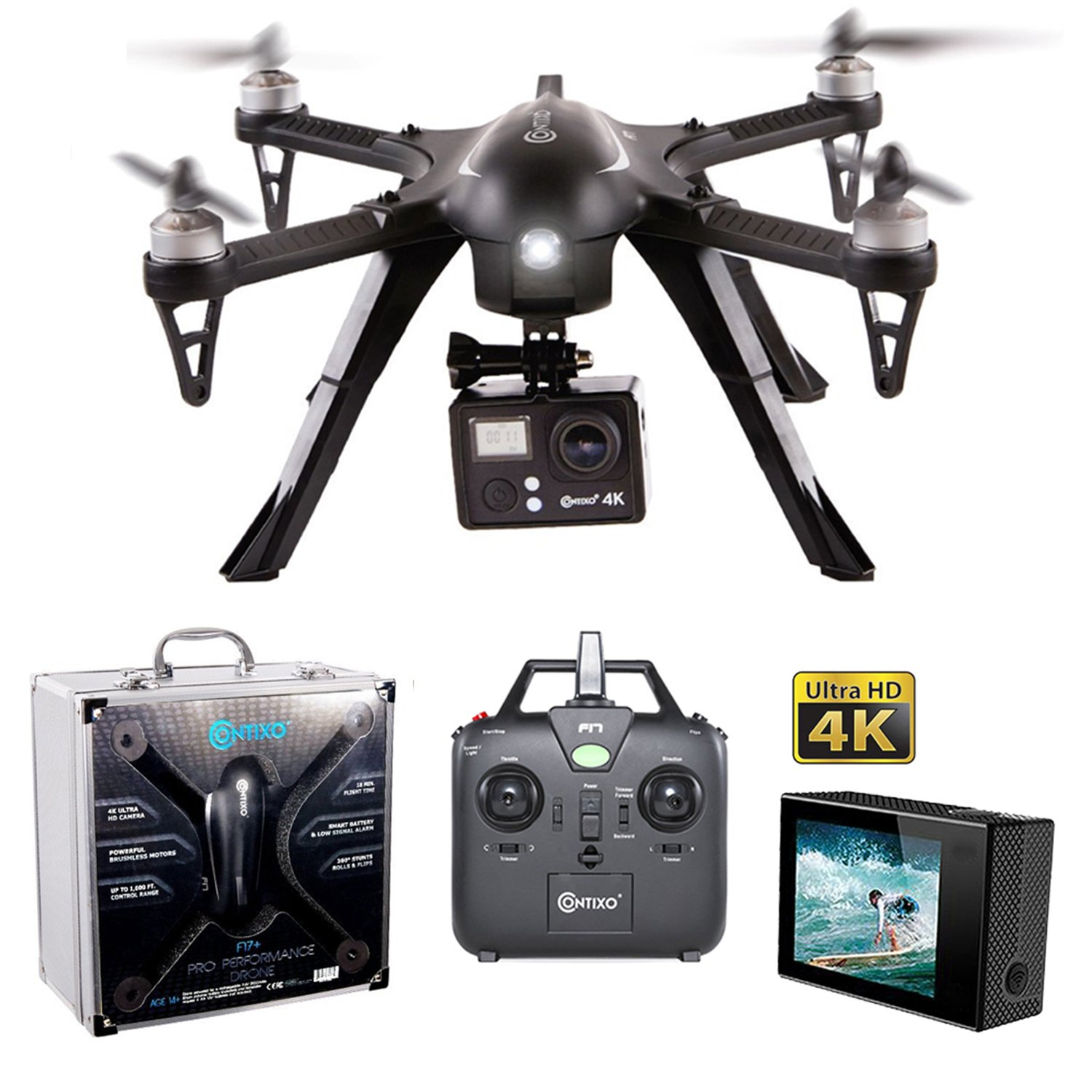 Contixo F17+ RC Quadcopter Photography Drone 4K Ultra HD Camera 16MP, Brushless Motors, 1 High Capacity Battery, Supports GoPro Hero Cameras, Alum Hard Case by Contixo