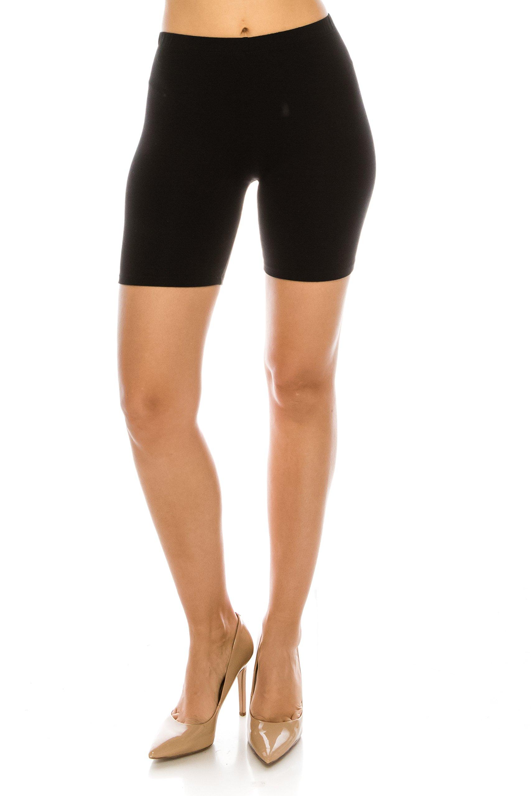 C&C Style Women's Stretch Jersey Bike Yoga Running Workout Bermuda Shorts Tights Pants Under Short Leggings S to 3XL Plus (1XL, Black)