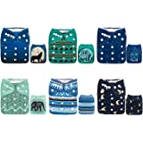 ALVABABY Cloth Diaper, One Size Adjustable Washable Reusable for Baby Girls and Boys 6 Pack with 12 Inserts (Wild…