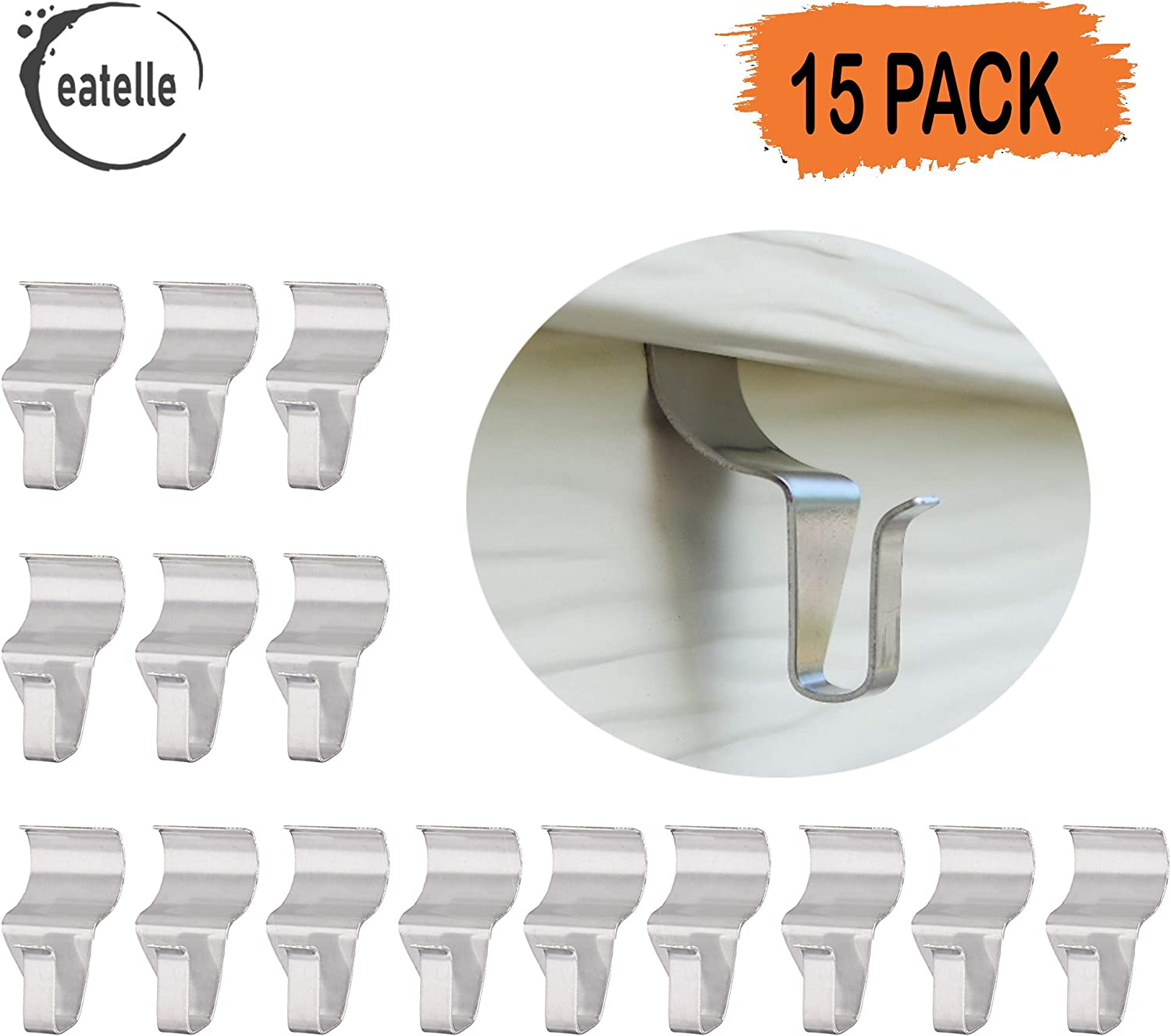 Eatelle No-Hole Needed Hooks Low Profile Vinyl Siding Clips for Hanging, Outdoor Hooks Heavy Duty Stainless Steel Outdoor Light Mailbox Planter Decorations Wreath Hanger Clips 15 Pack