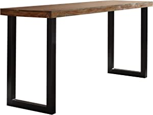 Coaster Home Furnishings Mindo Rectangular Warm Chestnut and Matte Black Counter Height Table
