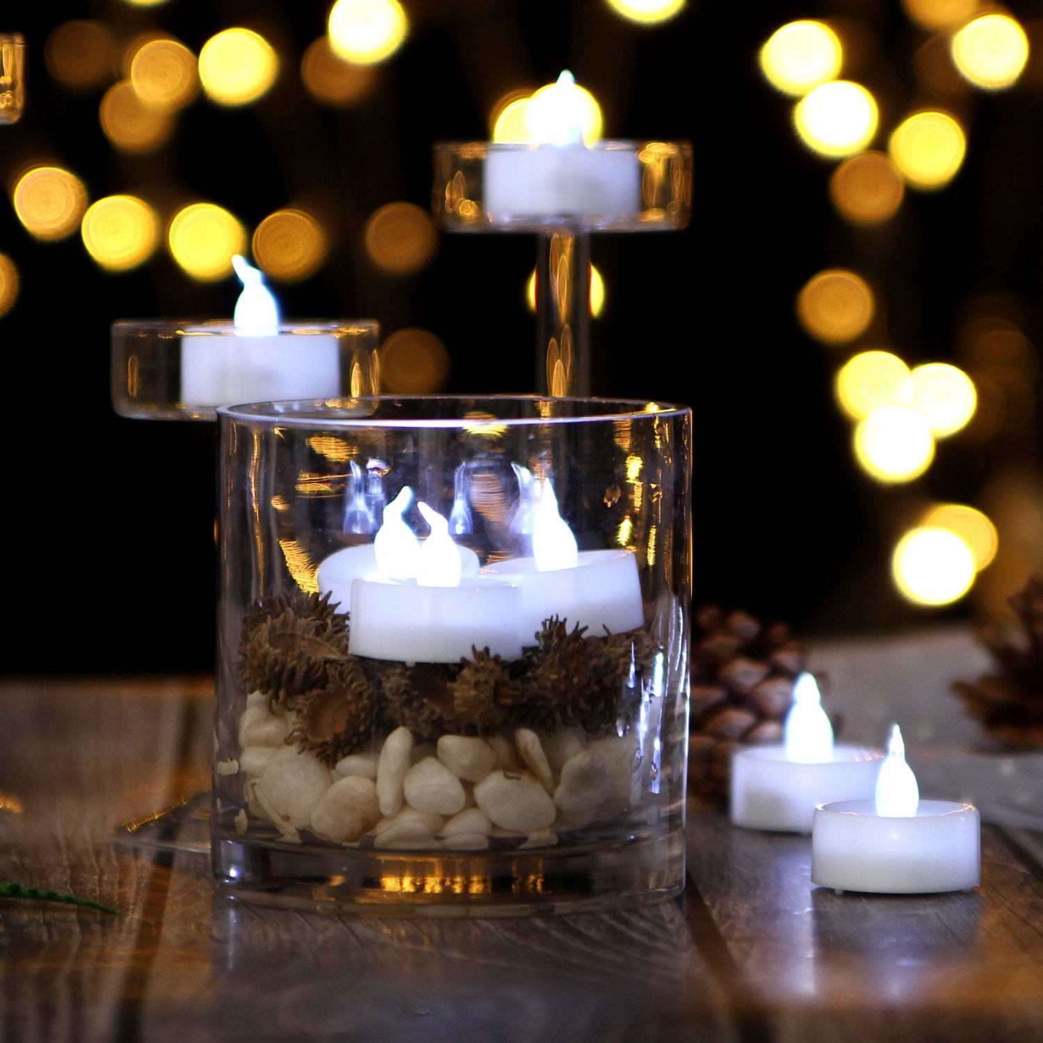 Auto 6 Hour on and 18 Hour Off After Turing On AGPTEK/® 24pcs Cool White Flickering Flameless LED Tealight Candles with Timer Function for Wedding//Party Decorations