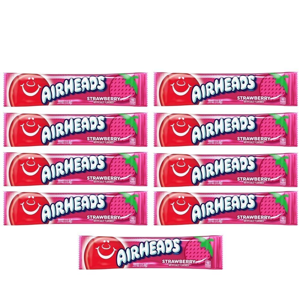 AirHeads Candy Individually Wrapped Bars, Strawberry, 0.55 oz