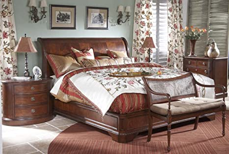 Amazon Com Heritage Mahogany 4 Piece Queen Sleigh Bed Set Kitchen