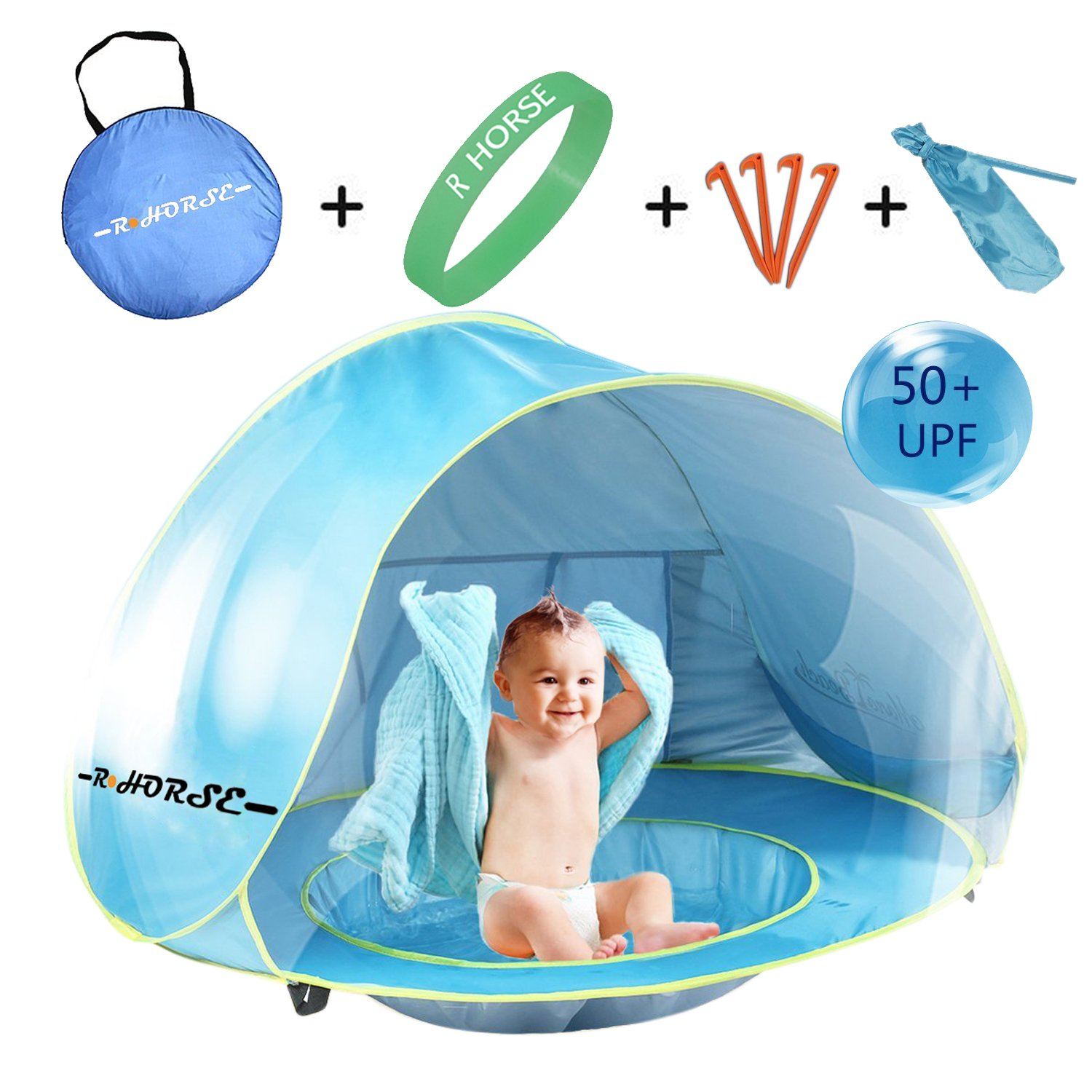 Baby Beach Tent R HORSE Pop Up Portable Shade Pool UV Protection Sun Shelter NEW  sc 1 st  eBay & Baby Beach Tent R HORSE Pop Up Portable Shade Pool UV Protection ...