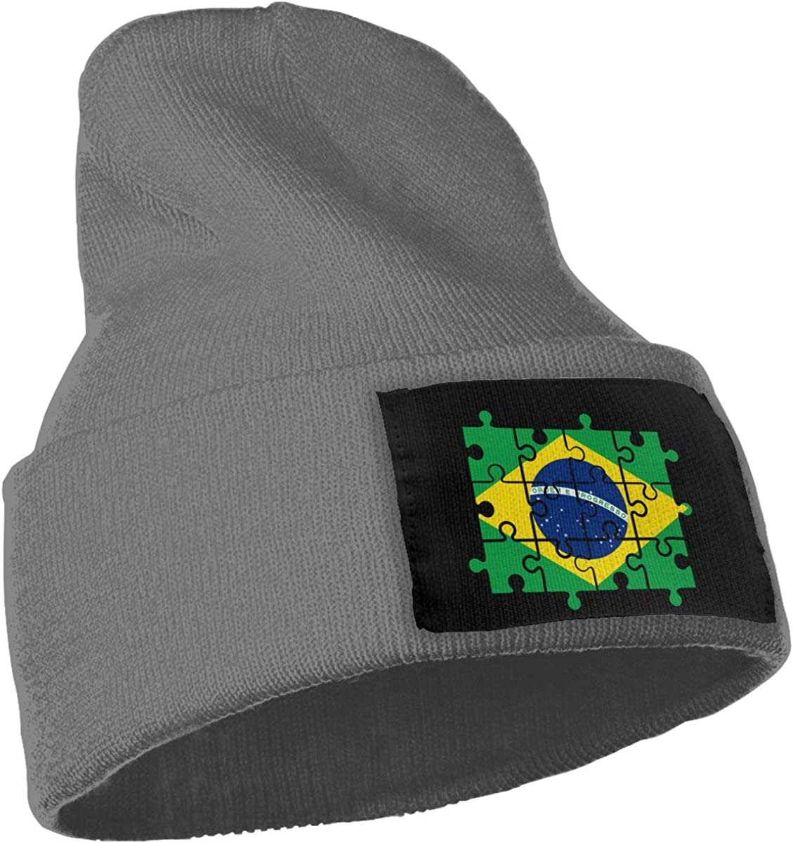 COLLJL-8 Unisex Brazil Flag Puzzle Outdoor Stretch Knit Beanies Hat Soft Winter Skull Caps