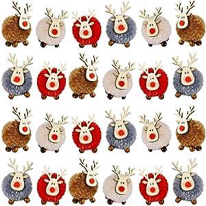 Vanproo 24Pack Christmas Cute Wool Felt Wooden Elk Antler Pendants Christmas Tree Decorations, Lovely Deer Craft Ornament for Xmas Tree Decor, Merry Christmas 2021 New Year Home Decor