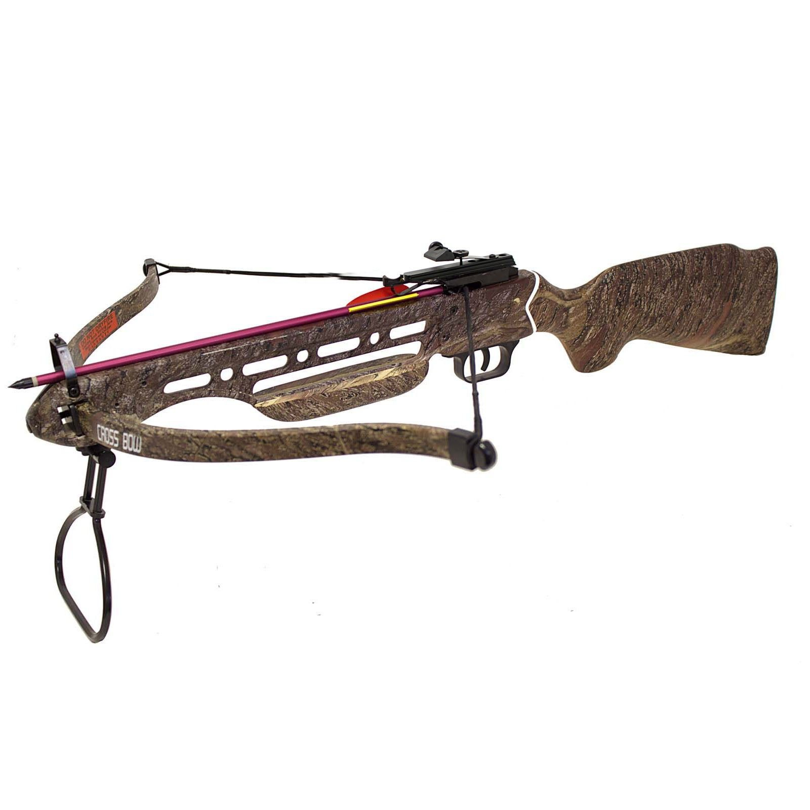 Hunting Crossbows 150 lbs Real Wooden Camouflage Hunting Crossbow with 2 Arrows Deer Hunting Crossbow Bolts