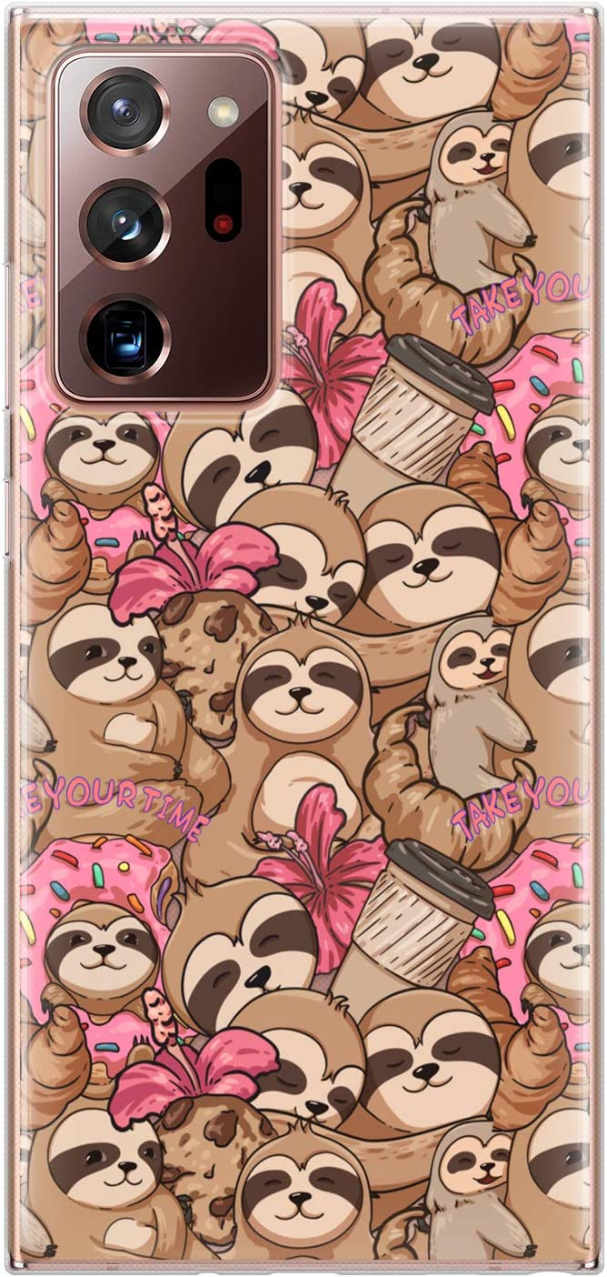 Lex Altern TPU Case Compatible with Samsung Galaxy S21 Note 20 Plus S20 Ultra S10 5G 9 Cute Protective Donuts Print Coffee Lightweight Sloth Clear Pattern Slim Cover Kawaii Animal Silicone phh386