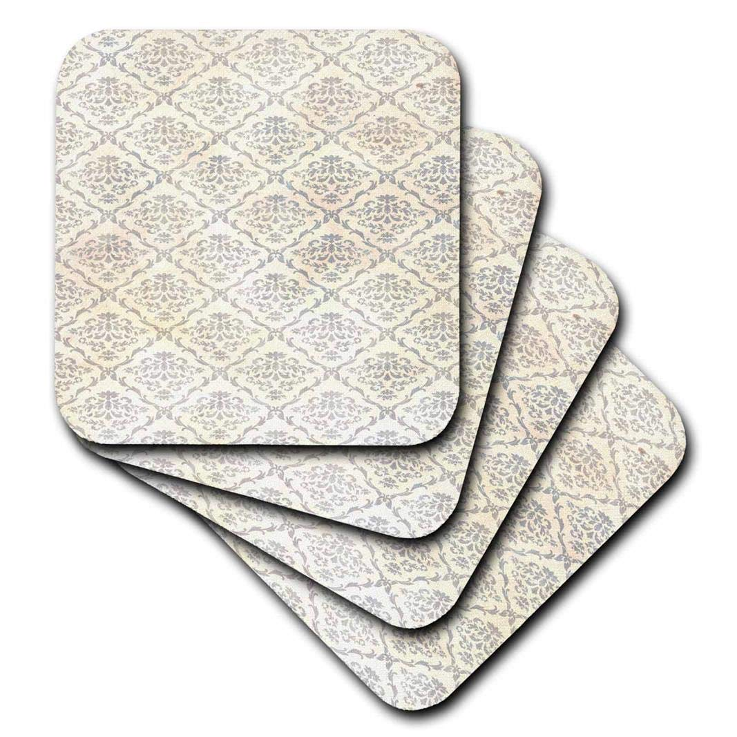 Set Of 4 3drose Cst 205208 3 Print Of Silver And Ivory Vintage Damask Ceramic Tile Coasters