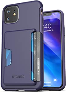 Encased iPhone 11 Wallet Case (2019) Ultra Durable Cover with Card Holder Slot (4 Credit Cards Capacity) Purple