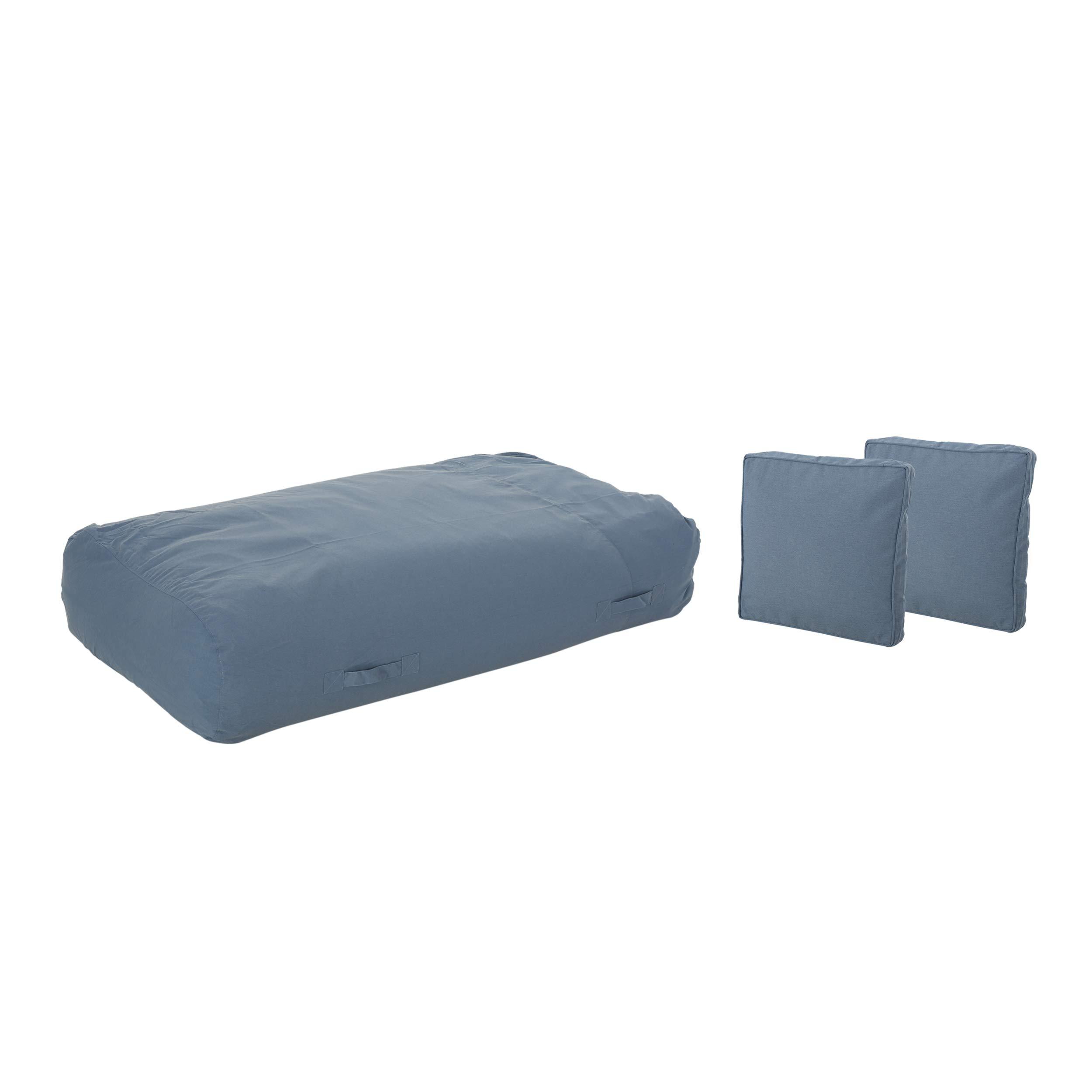 Great Deal Furniture Vivien Outdoor Water Resistant 6'x3' Lounger Bean Bag and 18'' Throw Pillows Set, Blue