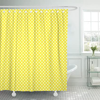AAoAA Shower Curtains Orange Abstract Yellow With White Polka Dots Pattern Colorful Circle Curtain 72