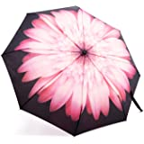 Travel Umbrella, Oak Leaf Automatic Folding Travel Rain Umbrella, Ladies Floral Parasol, Auto Open and Close Compact for Easy Carrying, Windproof, Waterproof - Pink Daisy Flower printed