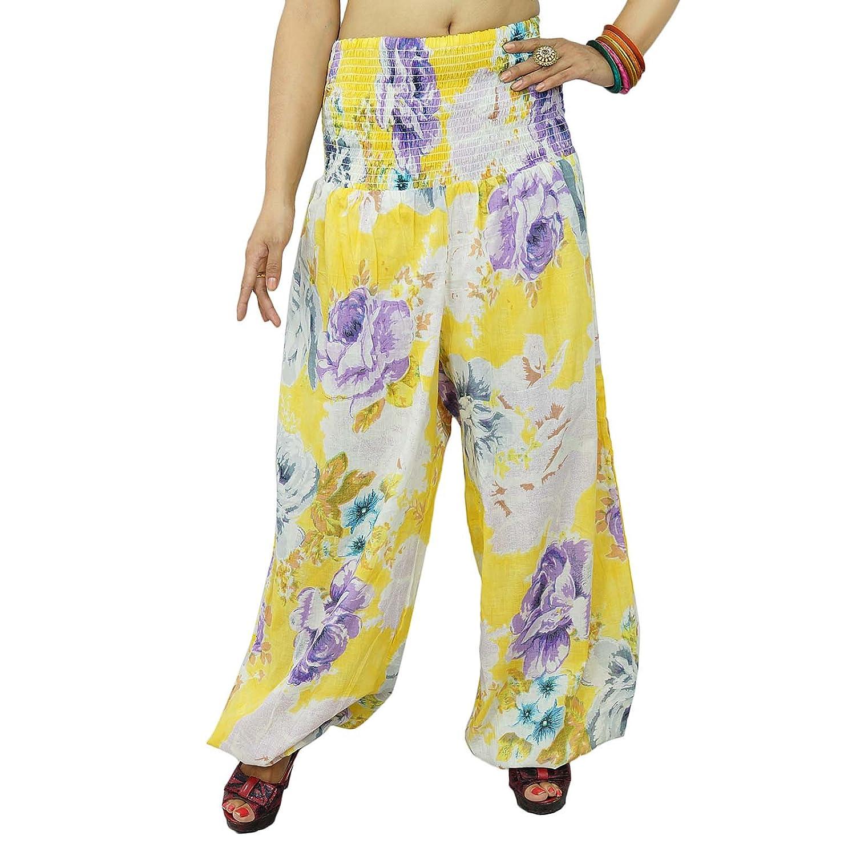 Blumendruck-Gelb Yoga Pants Elastische Hosen Strand Harem Pyjamas One GRÖSSE