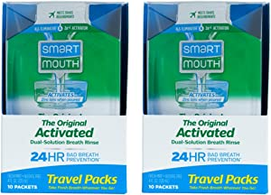SmartMouth Mouthwash Travel Packets for 24 Hours of Fresh Breath Guaranteed, 2 Boxes, 10 Packs Each