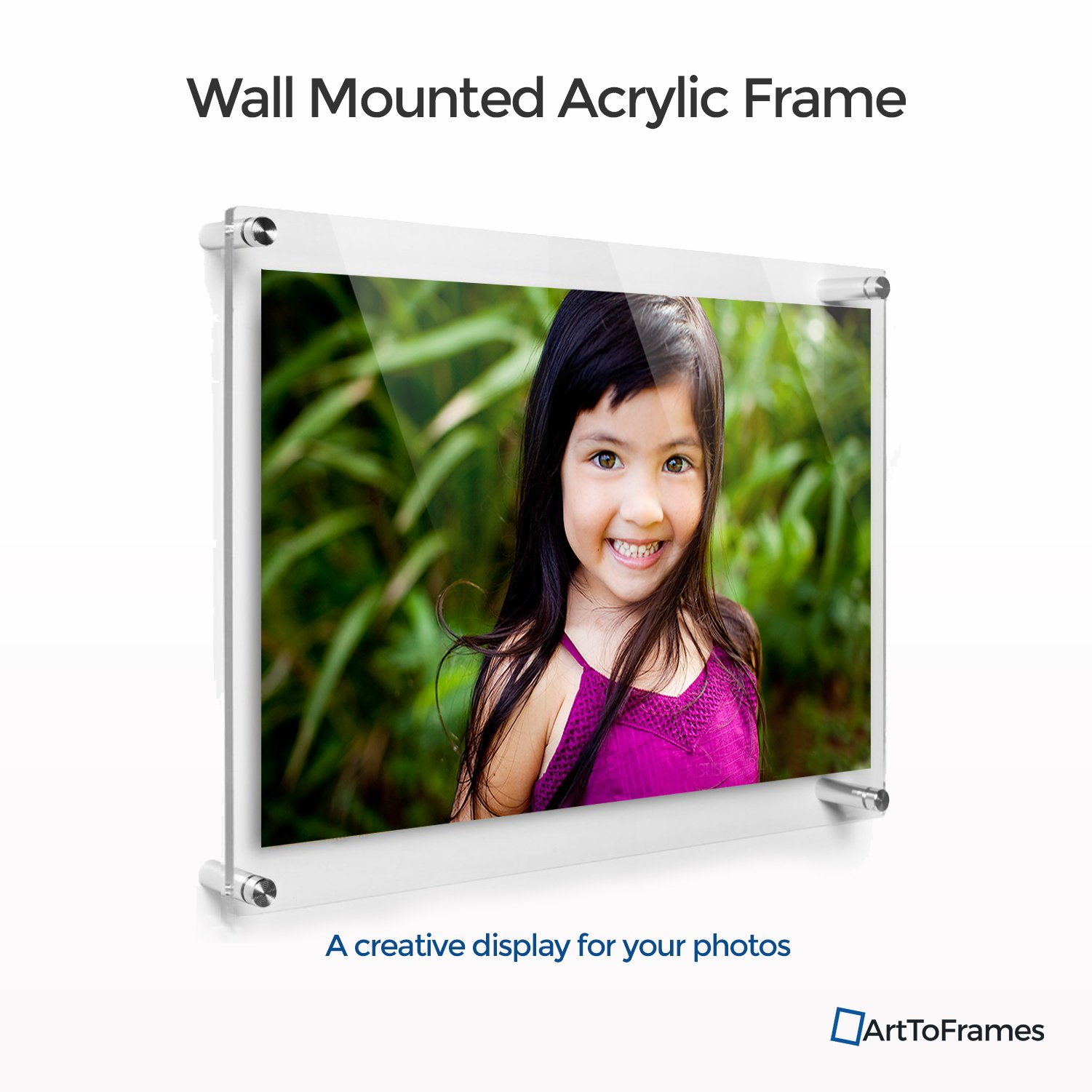ArtToFrames Floating Acrylic Frame for Pictures Up To 24x36 inches (Full Frame is 27x39) with Muted Chrome Standoff Wall Mount Hardware, Acrylic-109-24x36-MutedChrome