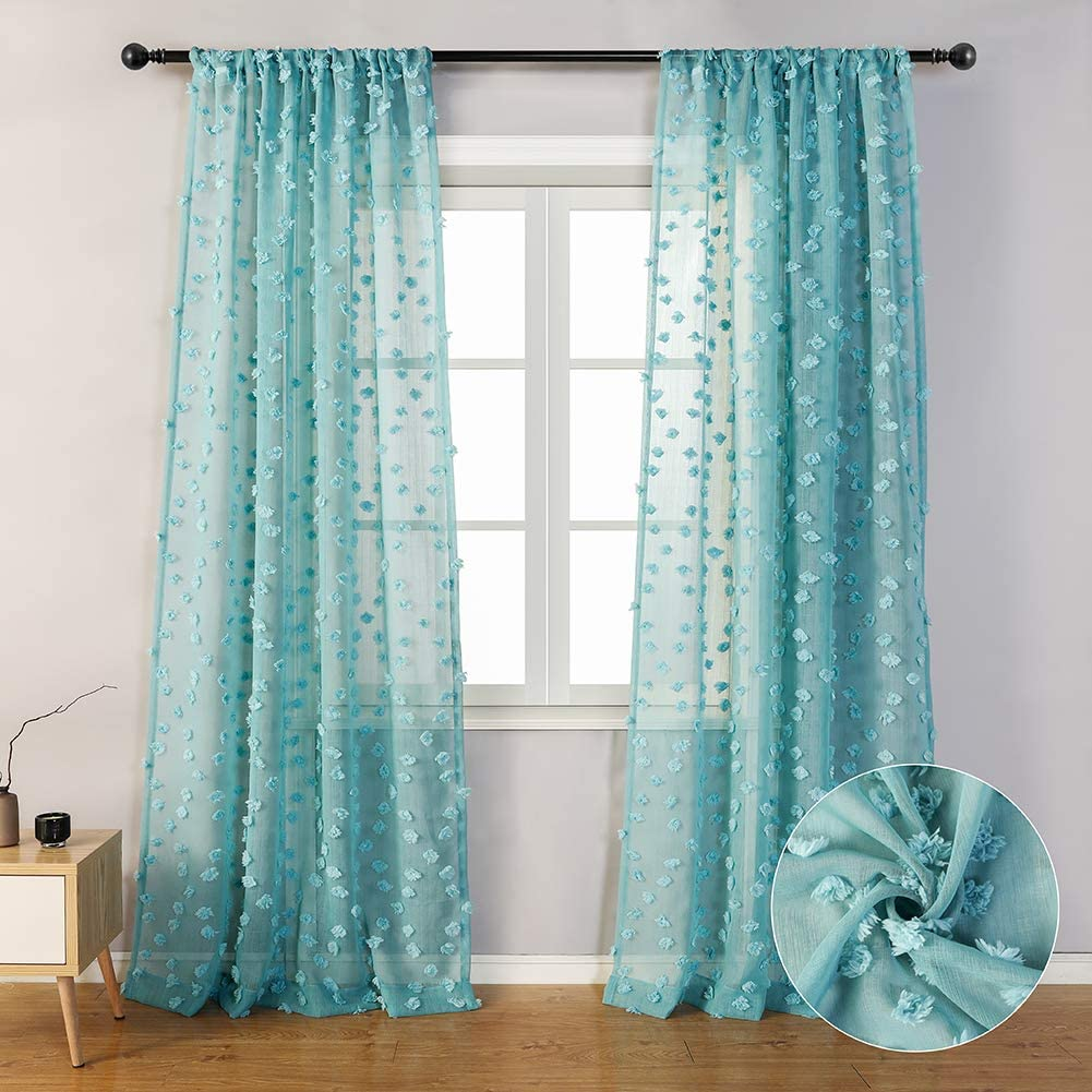 "MYSKY HOME Teal Sheer Curtains 84 Inches Long Rod Pocket Voile Semi Sheer Curtains with Pom Pom for Nursery (2 Panels, 54"" x 84"", Teal)"