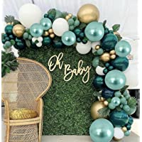 180Pcs Green Balloon Garland Arch Kit with Metallic Green Balloons Metallic Gold Balloons White Balloons for 1st…