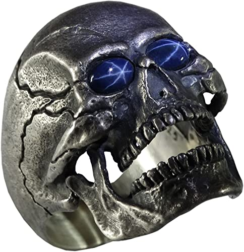 UNIQABLE Open Jaw Skull Natural Blue Star Sapphire Gems Silver 925 Biker Ring Masonic Harley Hand Made SK01SAP