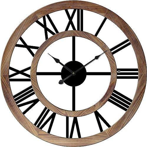 YXZEROS All Wood Material Wall Clock Retro Design Round Old Wall Clock Retro Craft Wall Clock Suitable