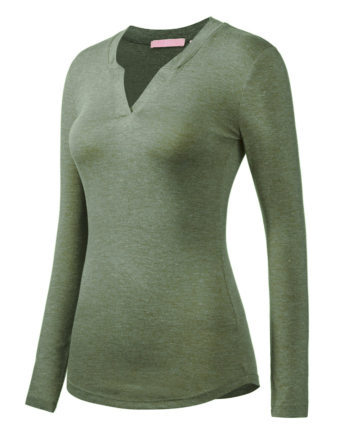 Regna X Women's Small v-Neck wear to Work Office Long Sleeve Green Shirts