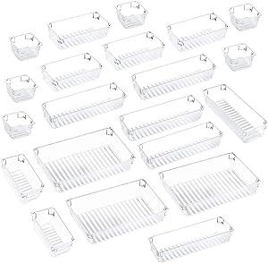 Kootek 21 Pcs Desk Drawer Organizer Trays 4-Size Bathroom Drawer Tray Plastic Storage Organizers Bins Customize Layout Dividers for Cosmetic Makeup Dresser Kitchen Flatware Cutlery Office Accessories