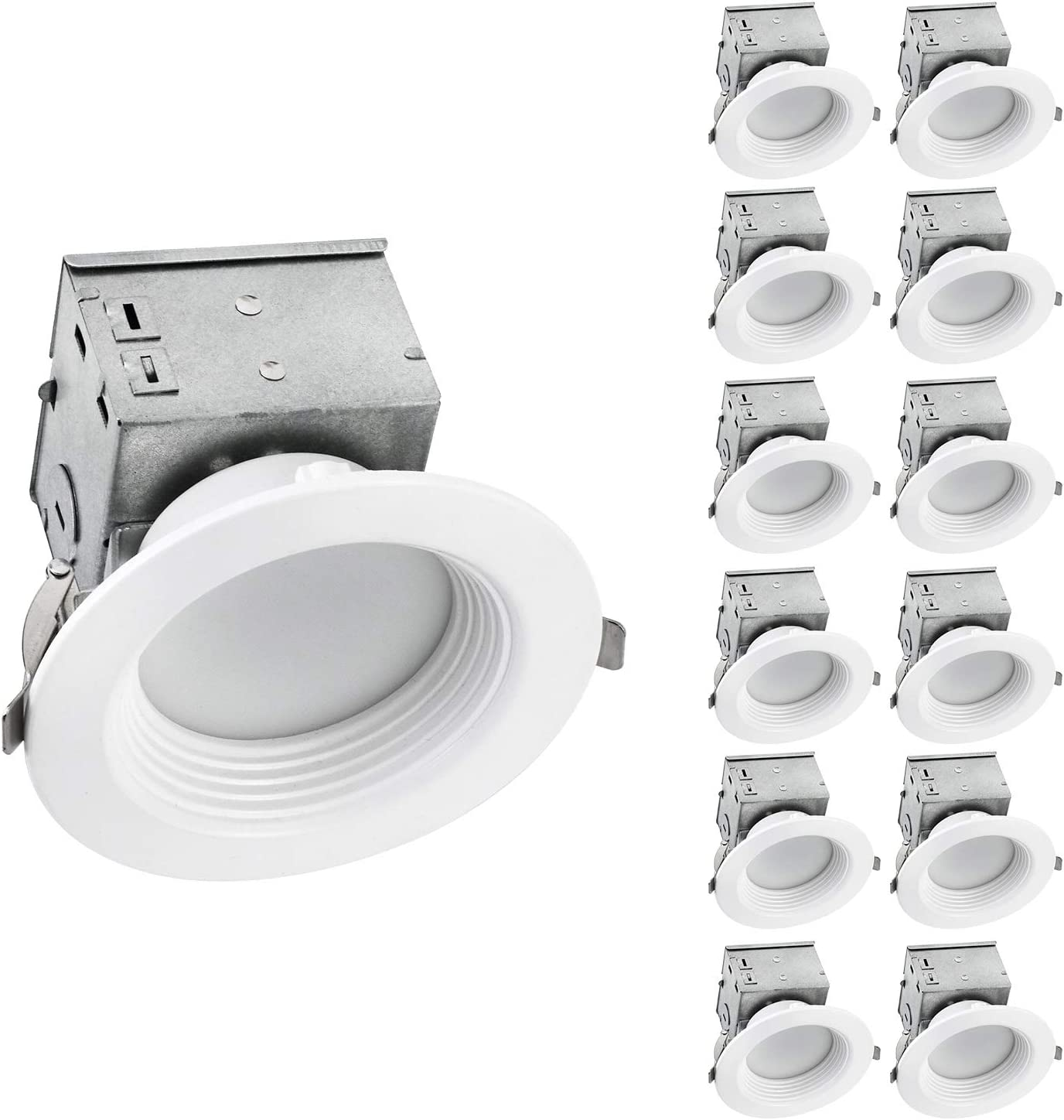 OSTWIN (12 Pack) 4 Inch Canless LED Recessed Light - Dimmable Downlight Fixture with Integrated Junction Box, 10W (75W Eqv) 800Lm, 4000K Bright White, Wet Locations, IC Rated, ETL & Energy Star Listed