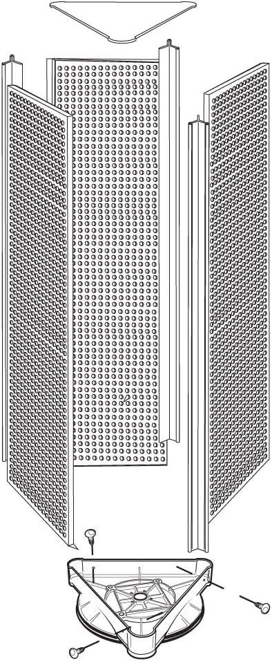 Azar 700450-ALM Three-Sided Spinning Pegboard Almond Solid Pegboard