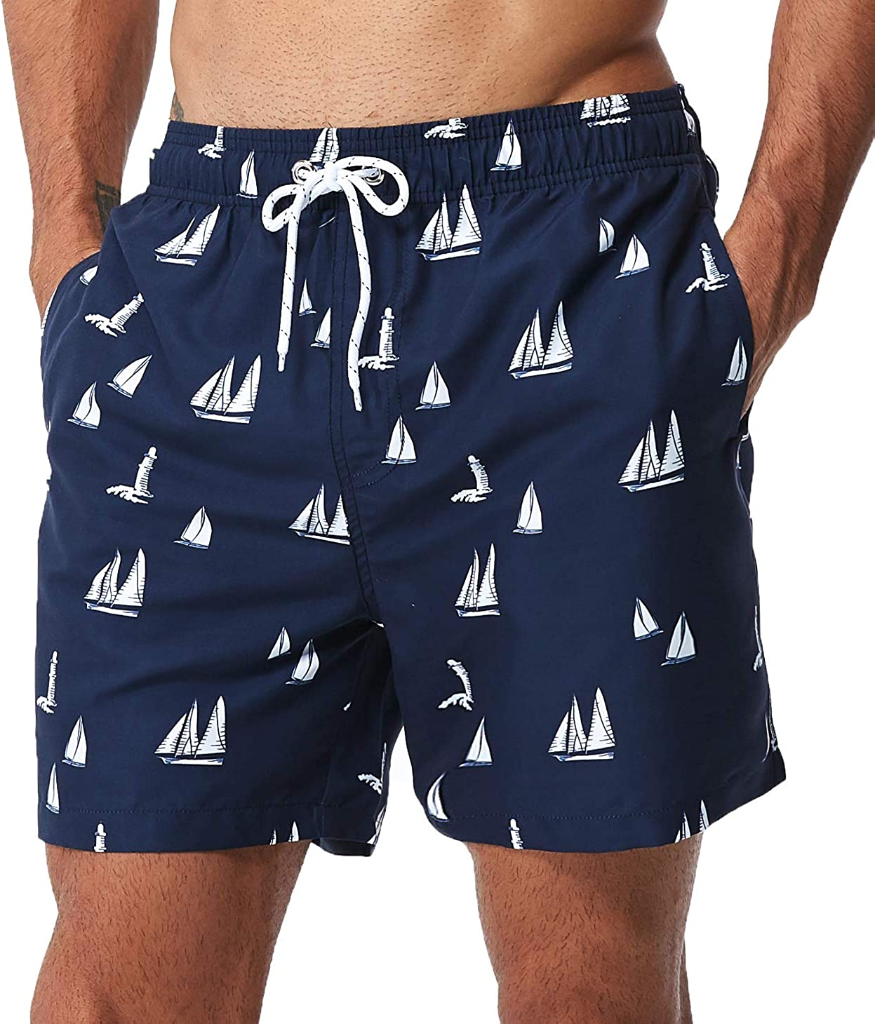 SILKWORLD Mens Swim Trunks Waterproof Bathing Suit Quick Dry Shorts with Pockets,6a/_Pink Flamingo,Large
