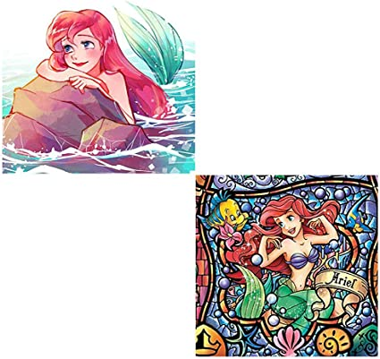 DIY 5D Diamond Painting Kits for Adults 12X12 Ariel Princess Full Drill Diamond Painting Rhinestone Embroidery Pictures Cross Stitch Arts Crafts for Living Room Home Wall Decor