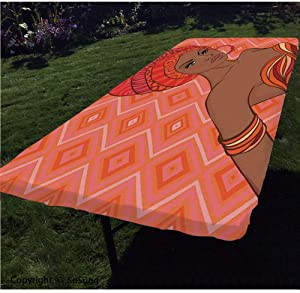 "Afro Decor Polyester Fitted Tablecloth,Portrait of African Woman in Ethnic Dress Zulu Elegance Tribal Graphic Print Rectangular Elastic Edge Fitted Table Cover,Fits Rectangular Tables 60x30"" Scarlet U"