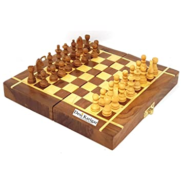 Desi Karigar Folding Wooden Chess Board Set Game Handmade Small Chess Pieces 8 Inches (Non - Magnetic)