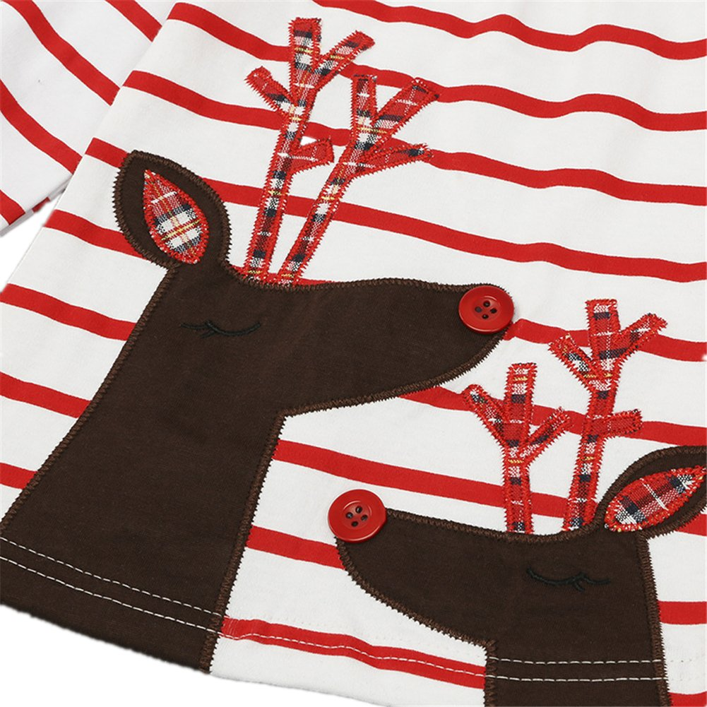 Honey$Homey Christmas Baby Kids Girls Stripe Dress Elk Snowman Pattern Long Sleeve Clothes