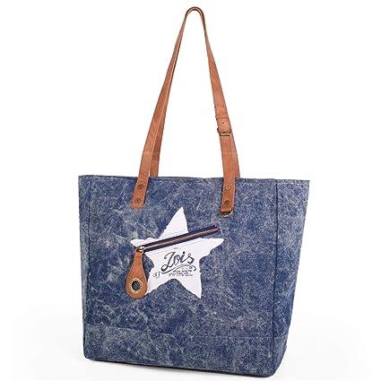 Lois - Bolso de Mujer Tipo Shopping con Doble Asa. Cierre Cremallera. Lona Denim. Ideal para Compras o Playa. Base Reforzada. 19832, Color Azul ...
