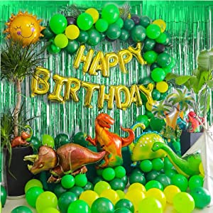 Dinosaur Birthday Party Supplies - 97PCS Jurassic Park Jungle Theme Party Decorations for Kids Boys & Girls Dinosaur Party Favors with Pump