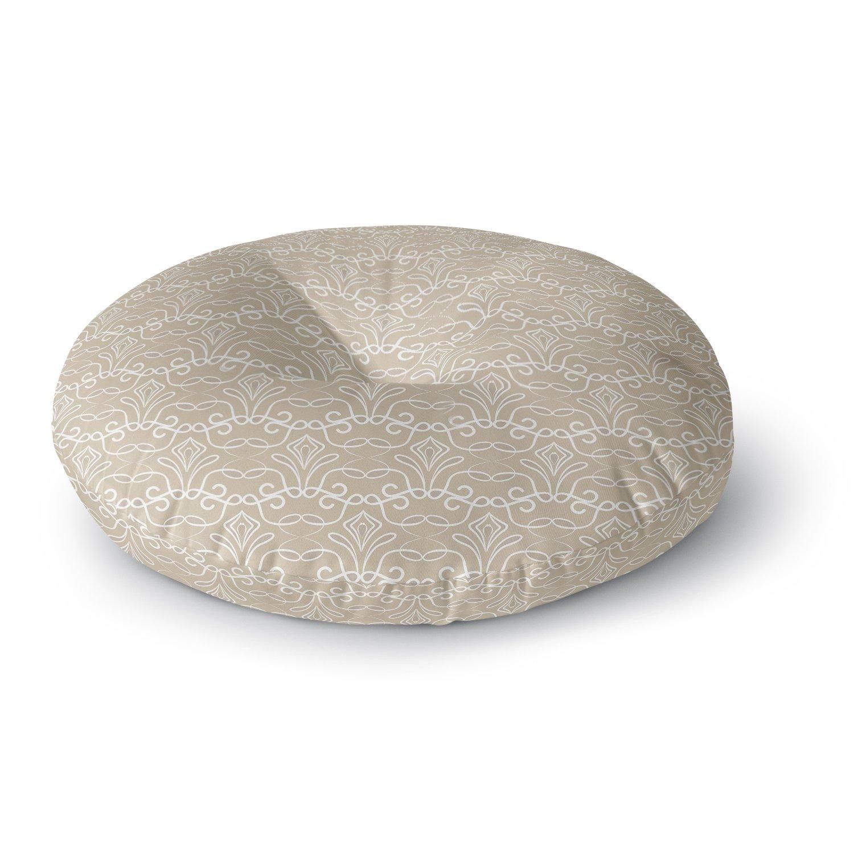 Kess InHouse Julia Grifol Soft Deco Brown Tan 26 Round Floor Pillow
