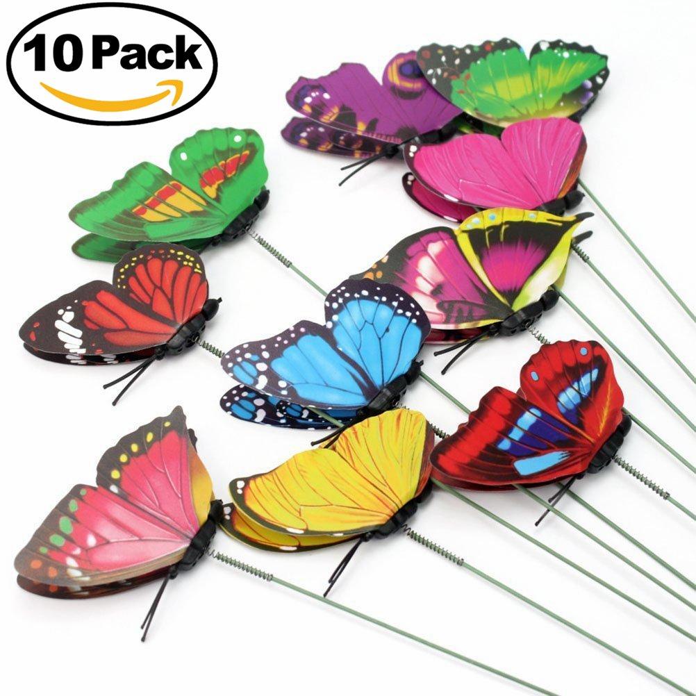 ULTNICE 10pcs Colourful Garden Butterfly on Stick Garden Decor Butterfly Stake