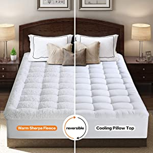 INGALIK King Mattress Topper - Cooling 400TC Pillow Top Mattress Pad Cover/Warm Plush Sherpa Fleece Reversible Quilted Fitted Mattress Protector with 8-21 Inch Deep Pocket for All Season