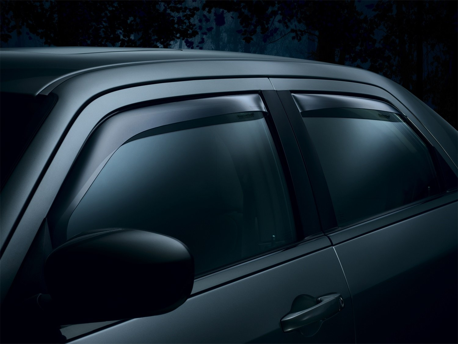 WeatherTech Custom Fit Front & Rear Side Window Deflectors for Toyota Tacoma Double Cab, Dark Smoke