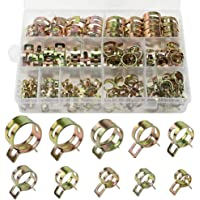DXLing 120 Pieces Spring Hose Clamps 12 Sizes Metal Fuel Line Hose Clips Water Pipe Air Tube Hose Clamp Tubing Spring…