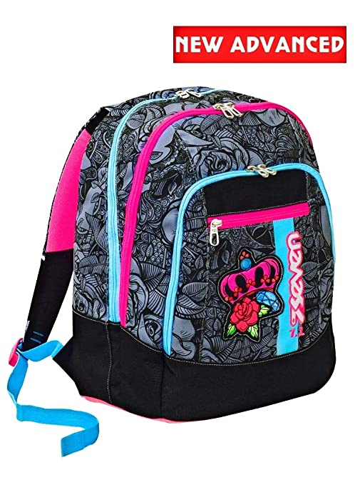 codice promozionale 81e7b 43026 Zaino scuola advanced SEVEN - ROSES GIRL - Nero - 30 LT - inserti  rifrangenti