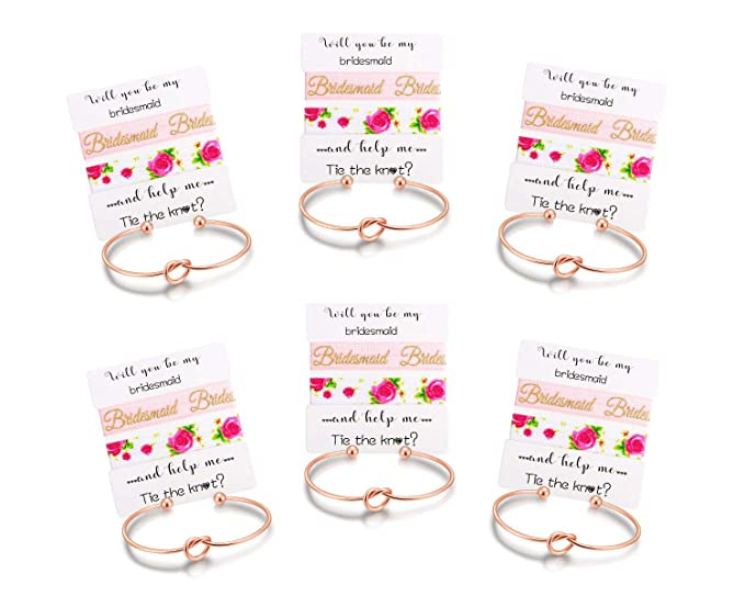 ecb896ac5062f Amazon.com  Nymph Code Bridesmaid Gifts Bachelorette Party Supplies - 6 Set  Rose Gold Love Knot Bracelets with Bridesmaid Hair Ties