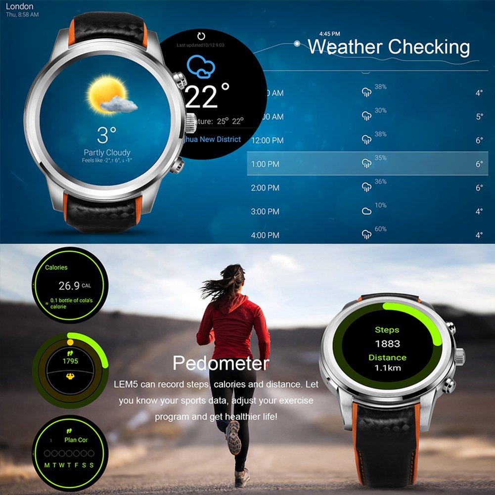 Reloj inteligente LEMFO Android 5.1, procesador MTK6580 Quad Core, 1 GB/8 GB, 3 G, wifi, GPS, monitor de frecuencia cardiaca, teléfono móvil, para Android e ...