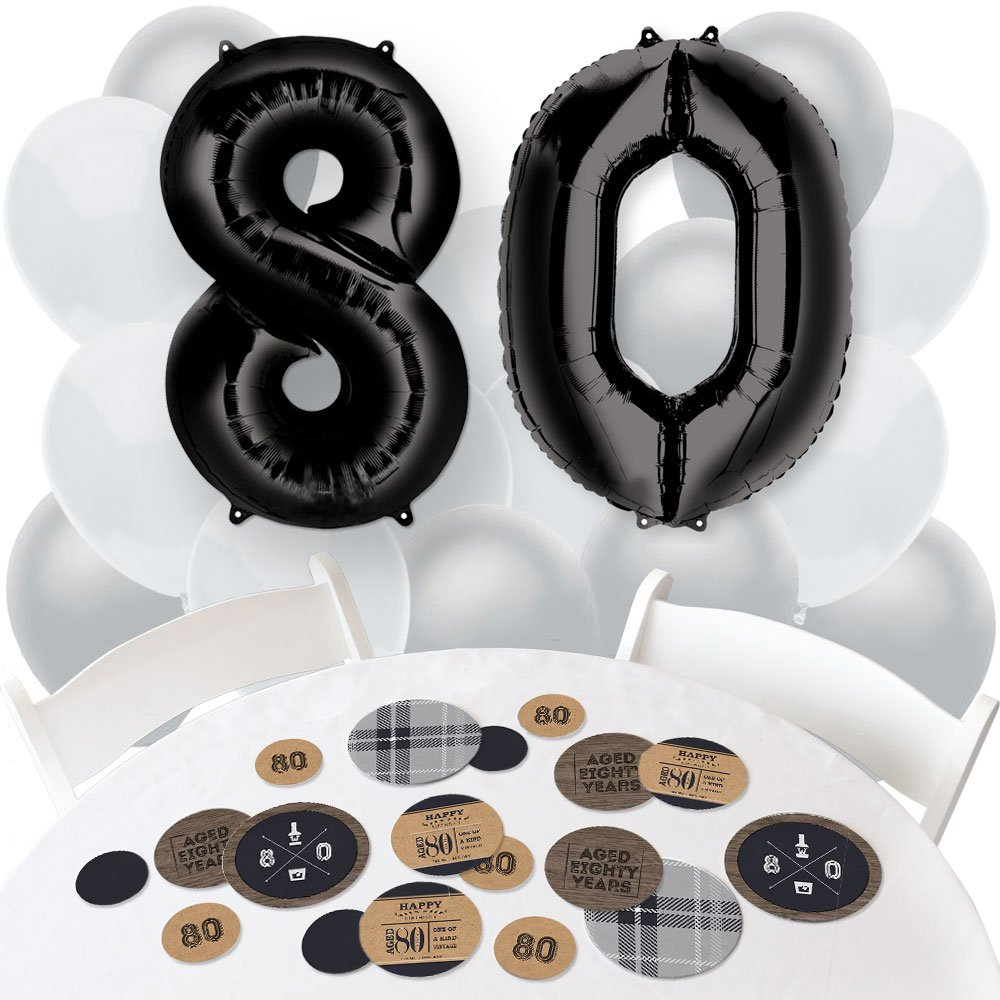 80th Milestone Birthday - Dashingly Aged to Perfection - Confetti and Balloon Party Decorations - Combo Kit
