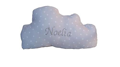 Cojin nube gris con nombre bordado 36/24 cm.: Amazon.es ...